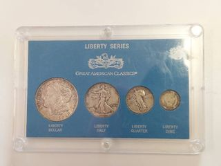liberty Series Silver Coin Collection   Includes 1921 Morgan Dollar  1942 Walking liberty Half Dollar  1930 Standing liberty Quarter  1913 Barber Dime