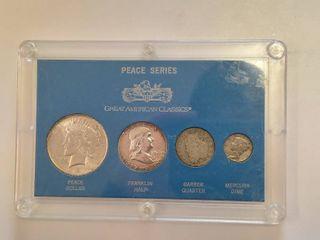 Peace Series Silver Coin Collection   Includes 1923 Peace Dollar  1963 Franklin Half Dollar  1904 O Barber Quarter  1942 Mercury Dime