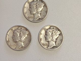 1945 Mercury Head Silver Dimes   P D S Mint Marks