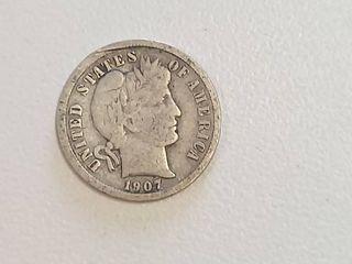 1907 Barber Silver Dime