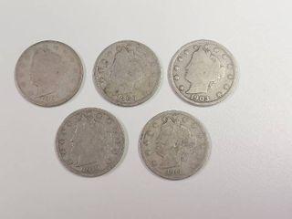 5 liberty Head  V  Nickels   1897  1900  1903  1910  1911