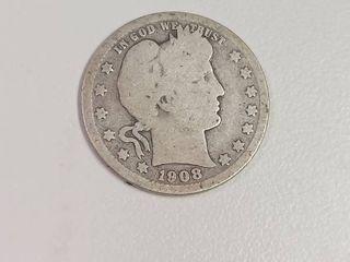 1908 D Barber Silver Quarter