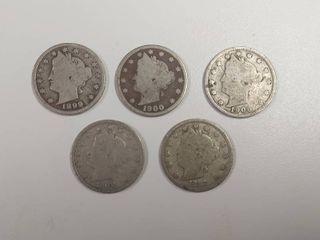 5 liberty Head  V  Nickels   1899  1900  1906  1908  1912