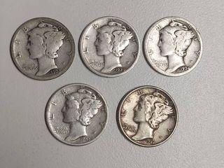 5  Mercury Head Silver Dimes   1923  1929 D  1934  1943  1944