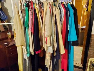 Vintage Clothes on Rack in Basement   Rack Not Included