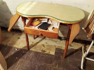 Kidney Shaped Table with Drawer