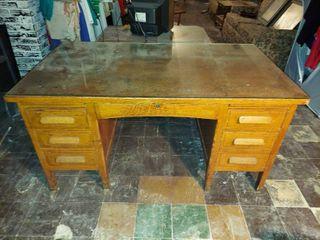 Wood Teachers Desk with Glass Top   in Basement