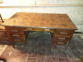 Wood Desk   In Basement