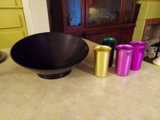 Mid century Bowl and Aluminum Cups