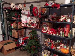 All Christmas Decor and Wrapping Paper   Shelves Included   Bring Boxes
