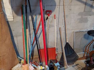 Pile long Handled Tools   Brooms  Rake and Pick