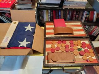 Backgammon Game and large American Flag