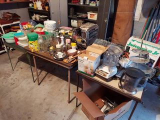 Assorted Kitchenware on 3 Card Tables   Tables Not Included