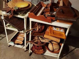 Assorted Wood Items on 2 Utility Carts