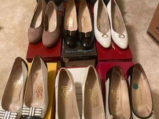 9 pairs Italian Salvatore Ferragamo pumps different sizes