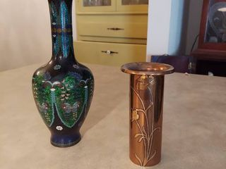 2 Vases   1 is Marked Sterling on Bronze and 1 is Enameled Brass