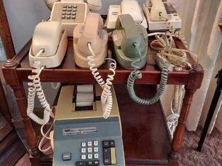 Vintage Adding Machine and Telephones