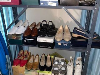 18 pairs of womens shoes   Shelf Not Included