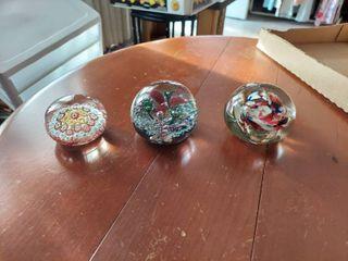 3 Artglass Paperweights