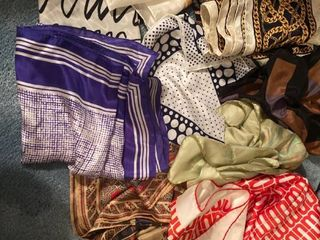 approx 11 polyester and silk scarves and headwraps