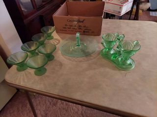 green cream and sugar  custard cups  and platter