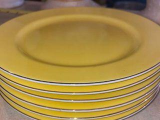 6 yellow Noritake hand painted plates