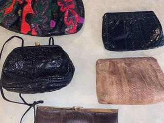 5 clutches   one is genuine leather