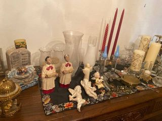 assorted decor  religious and candles