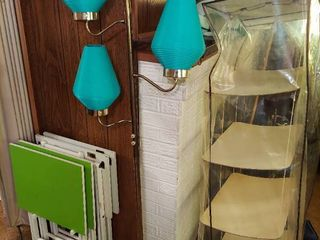 Mid century Floor lamp with Teal Beehive Shades