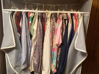 portable closet with womens clothes inside