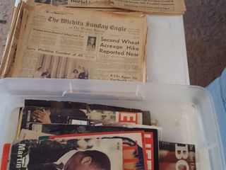 Assorted old newspapers and magazines w  plastic storage box