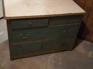 Old wooden dresser  Solid wood  painted   In Basement