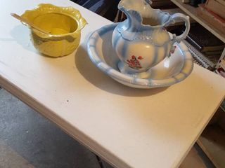 Pitcher   bowl and cabbage bowl with ladle