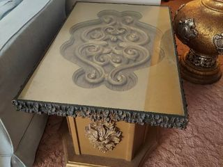 Pair of End Tables with Glass Tops