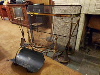 Assorted Fireplace Tools  log Holder  Screen and Andirons