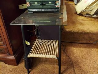 Glass Top End Table and Emerson Stereo with 1 Speaker