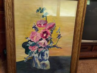 Floral Painting in Wood Frame