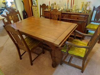 Oak Refractory Table with 6 Chairs   Chairs are loose
