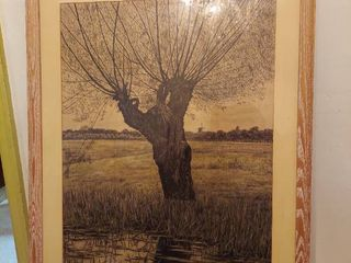 Vintage Tree with Dutch Windmill Picture   Gifted in 1952  Dated  04