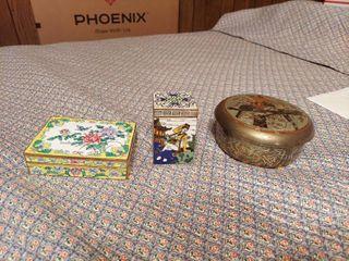 3 Enameled Brass Trinket Boxes