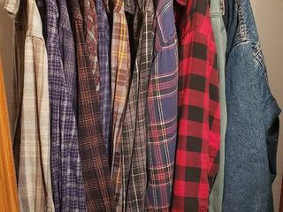 Men s Clothing   Size large   Flannel Shirts  Insulated Flannel Shirts and levi lined Jean Jacket
