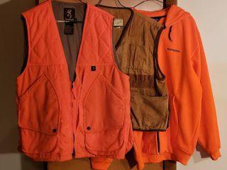 Hunting Vests and Jacket   Browning Orange vest  M M  American Field Tan Vest  lg and Winchester Orange Jacket  lg