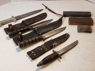 4 Hunting Knives  3 sheaths  and 3 Wet Stones   2 Ka Bar Type  made in Japan  1 leather Handle and 1 Alum  Handle Custom Made