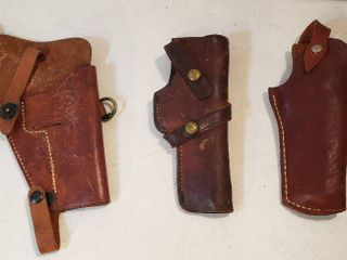3 leather Pistol Holsters    1  US Embossed   1  Brauer Bros  Mfg  Co  St  louis H3  and  1  unmarked
