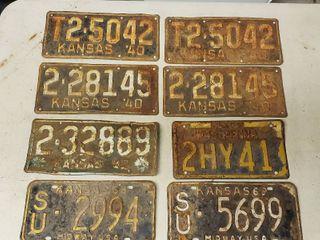 1940s license Plates   Kansas   1 Pennsylvania and 2 1960s Kansas Plates