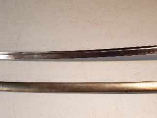 Ceremonial Brass Handle Sword w Scabbard   32 25 in  long and 33 in  long in Scabbard   no markings