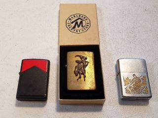 3 Vintage Zippo lighters   Solid Brass w Broncbuster  Black Case Marlboro  and Bird Hunting