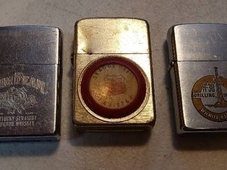 3 Vintage Zippo Advertising lighters   Jim Beam  Phillips 66 and H 30 Drilling Inc