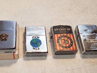 4 Vintage Military Themed lighters   Zippo Navy Crest  box included  Zippo POW MIA  Spirit of 76   K Japan  and Zippo USS Constellation