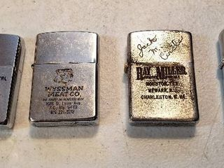 4 Vintage Advertising lighters   3 Zippos and other